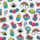 pattern with pop art vector stickers - 188994741