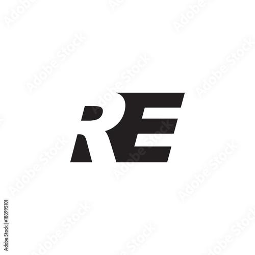 Initial letter RE, negative space logo, simple black color