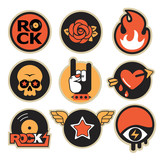 set of trendy rock and roll vector patches - 188995570