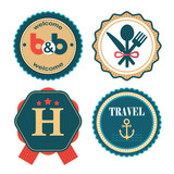 set of vector flat labels for touristic service - 188995596