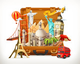 Travel, tourist attraction in suitcase, 3d vector illustration - 189008504