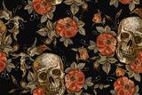 Embroidery vintage skull and roses seamless pattern. Gothic romanntic embroidery human skulls red roses and pink peonies pattern, clothes template and t-shirt design. Dia de muertos, day of the dead - 189016555