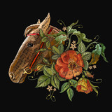 Embroidery horse head and wild roses, dogrose flowers. Fashionable template tapestry flowers renaissance. Classic style embroidery, horse and beautiful dogrose pattern vector - 189016729