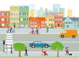 Stadt mit Straßenverkehr und Fußgänger, Illustration - 189021757