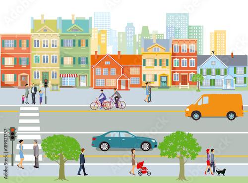 Stadt mit Straßenverkehr und Fußgänger, Illustration