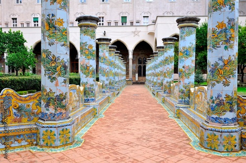 Plexiglas Napels Napoli chiostro del monastero di Santa Chiara