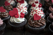 Sweet love cupcakes,,valentines day concept and selrctive focus