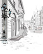 Series of street views in the old city. Hand drawn vector architectural background with historic buildings. - 189031926