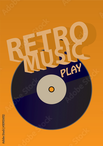 Retro music / Creative conceptual retro music vector. Vinyl on yellow background.
