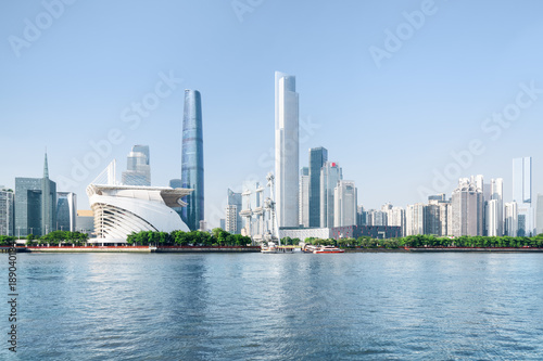 Foto Murales Beautiful Guangzhou skyline. The Pearl River and skyscrapers