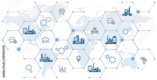 global company network - growth, trade & logistics - vector illustration