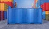 Stack of containers box, Cargo freight ship for import export business - 189044733