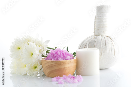 Spa salt stones and flower for beauty
