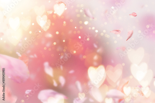 Leinwanddruck Bild Abstract composition for Women's Day. Pink flower petals flying with hearts symbols.