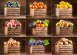 various fruits and vegetables in wooden boxes - 189048383