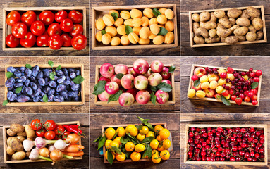 collage of various fruits and vegetables in wooden boxes