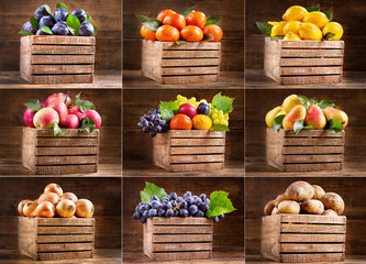 various fruits and vegetables in wooden boxes