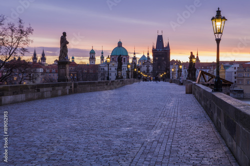 Charles Bridge, one of the famous places of the world. Prague, the Czech Republic  - 189052913