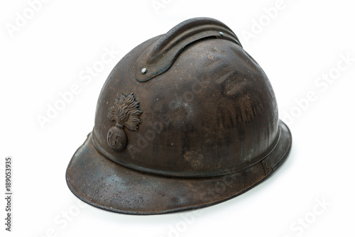 french helmet WW1 period on the white background Poster