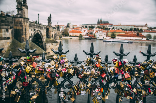 Deurstickers Praag Love and marriage padlocks on Prague bridge