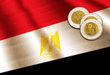 Egyptian pound on the flag. Abstract illustration. - 189064347