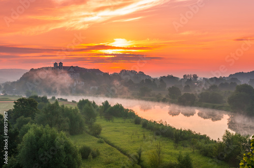 Foto op Aluminium Koraal Colorful morning landscape in the morning, Poland, Tyniec near Krakow