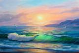 Seascape  painting .Sea wave. - 189080993