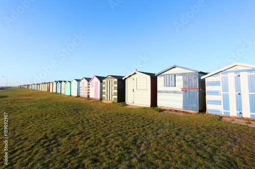 beach huts at harwich and dovercourt, uk