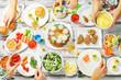 Spring Easter main dish celebration family concept