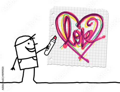 Cartoon Boy Drawing a Sketchy Heart