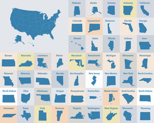 Outline map of the United States of America. States of the USA. Vector.