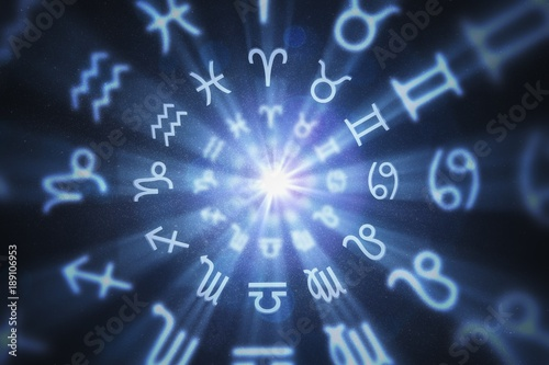 Abstract astrology background with zodiac signs in circle. 3D rendered illustration. © vchalup