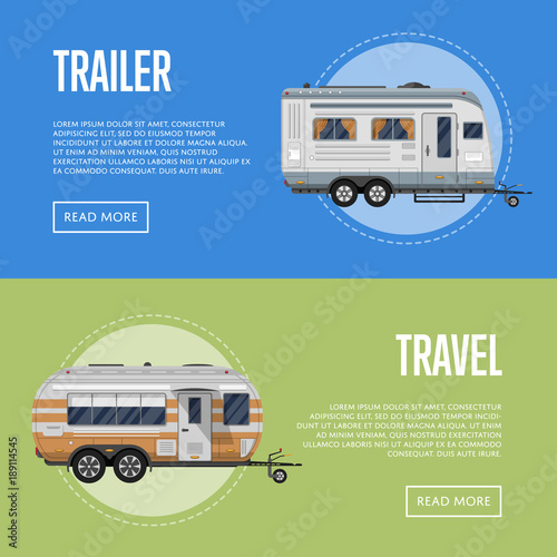 Modern travel trailer flyers set. Car RV trailer caravan, compact motorhome, mobile home for country traveling and outdoor family vacation. Side view recreational vehicles vans vector illustration