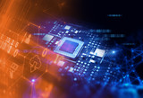 3d rendering  of futuristic blue circuit board - 189120514