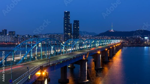 Foto op Canvas Texas Time lapse Night view of Dongjak bridge in Seoul, South Korea.