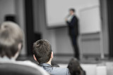 listeners business courses, sitting in lectures in modern conference room - 189126908