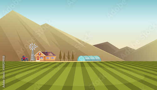 Aluminium Boerderij Farm and countryside landscape on mountain background. Vector cartoon illustration