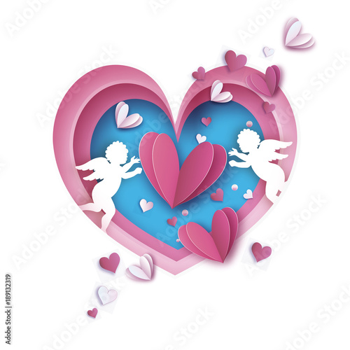 Flying Cupids - little angels. Love Pink Frame. Shape Heart in paper cut style. Origami Hearts and little boy - Cherub. Bow and Arrow. Happy Valentine day. Romantic Holidays. 14 February. © mash3r