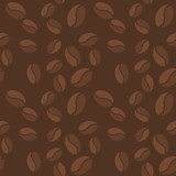 Vector brown seamless pattern with coffee beans icons