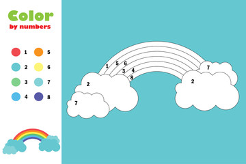 Colorful rainbow, color by number, education paper game for the development of children, coloring page, kids preschool activity, printable worksheet, vector illustration