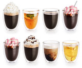 Collection of hot drinks in a glass with double walls isolated on white background. Cocoa, coffee, tea.