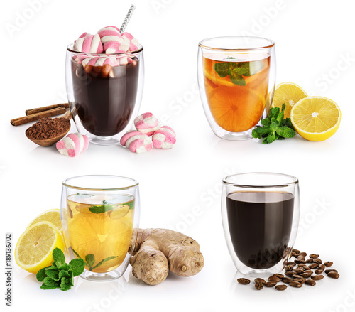 Papiers peints Cafe Collection of hot drinks in a glass with double walls isolated on white background. Cocoa, coffee, tea.