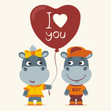 I love you! Funny hippo girl gives balloon heart for hippo boy. Greeting card for Valentine's Day. - 189137303