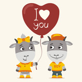 I love you! Funny goat girl gives balloon heart for goat boy. Greeting card for Valentine's Day. - 189137335