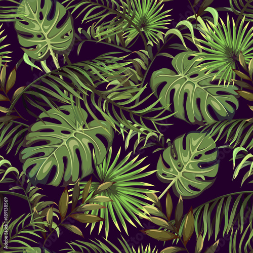 seamless pattern with tropical leaves