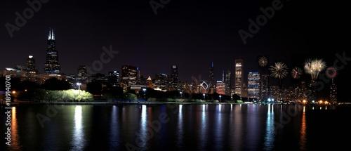 Papiers peints Chicago Chicago night skyline with fireworks, Usa.