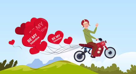 Man Riding Motor Bike With Heart Shaped Air Balloons Happy Valentines Day Concept Flat Vector Illustration