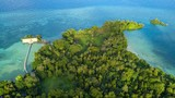 Aerial view of Hatta island in Indonesia