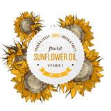 Sunflower oil emblem - 189150590
