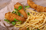 Closeup fried chicken meat and potato - 189151517
